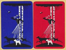 2 Single VINTAGE Swap/Playing Cards DECO LADY & DOGS HAT In AIR Dark Blue/Red