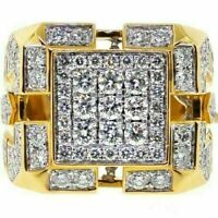 3.00 Ct Round Diamond 14K Yellow Gold Finish Heavy Men's Cluster Engagement Ring
