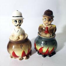 Vintage General & classy man burning in Cauldron, Salt and Pepper Shaker Set