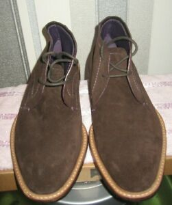 Ted Baker Men Brown Torsdi 4 Suede Ankle Boots 2 Eye LaceUp Casual Shoes 9-15096
