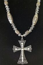 Silver Crystal Beaded Textured Cross Necklace Quality Fast Ship USA