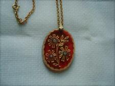 Vintage Necklace Red Glass Pendant With Gold Luster Flowers Clear Rhinestones