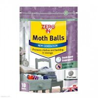 10 x MOTH BALLS ZERO IN - Protects Clothes/Bedding Against Damage - FRESH LINEN