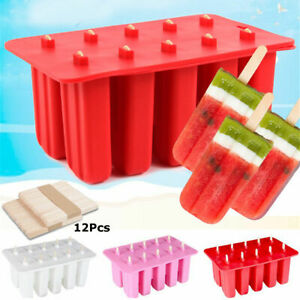 DIY Ice Mold Tray+12 Sticks Lolly Cells Cream Pop 10 Mould Popsicle Frozen Ice
