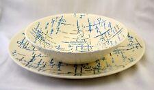 Vtg Homer Laughlin Vogue Shape HLC431 Chop Plate & Serving Bowl Blue Grey Tweed