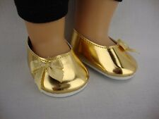 Pair of Metallic Gold Dress Shoes for 18 Inch Doll like American Girl Doll