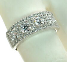 Solid 925 Sterling Silver Lab Simulated Diamond Band Ring Sz-7 '