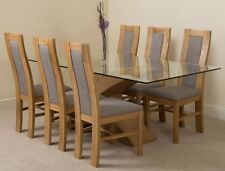Oak Fixed Table & Chair Sets 7 Pieces