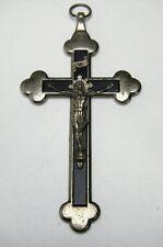 Kruzifix Jesuskreuz vernickelt (?) Holzeinlage schwarz Kreuz Religion Sammler