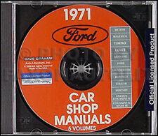 1971 Ford Shop Manual CD Fairlane Torino Ranchero Mustang Falcon Mach I Grande