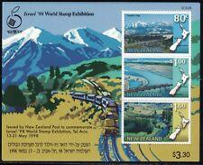 New Zealand Souv.Sheet-Railways-World Stamp- Exhibition- Israel MNH 1998