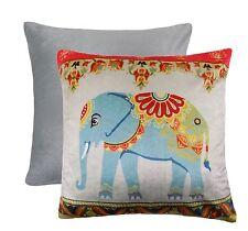 "ELEPHANT FLORAL FLOWER SOFT VELVET SILVER RED BLUE CUSHION COVER 17"" - 43CM"