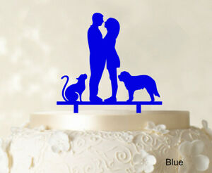Couple Wedding Cake Topper With Pets Wedding Topper-jYy