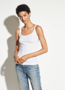 A035 NWT VINCE RIBBED SCOOP NECK WOMEN TANK TOP SIZE XS, S, M, L in WHITE $65