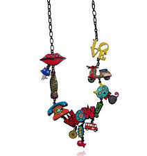 Lol Bijoux - Collier Pop Art - Chat - Coca - Bouche - Vespa - Wow - Multicolore
