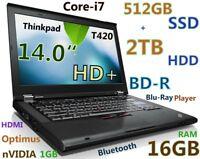 """# (3D-Design) Thinkpad T420 i7-QUAD (Blu-Ray 512GB SSD + 2TB 16GB) 14"""" HD+nVIDIA"""