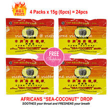 4 Packs x 6pcs Drop SOOTHES throat Lozenges FRESH Breath African Sea Coconut