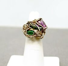 STERLING SILVER ART DECO PURPLE / GREEN TONED STONE RING 3.5#FMH827