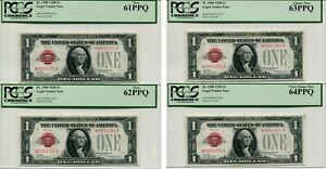 LOW SERIAL #** CONSECUTIVE 1928 $1 RED SEAL UNITED STATES 4 NOTE LOT PMG 64 PPQ