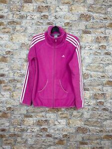 Vintage fleece adidas 90's women's retro bold pink full zip sweater jacket #148