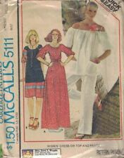 McCall's 5111 Misses Dress or Top & Pants Size M 14/16 Vintage 1976 Pattern