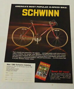 1980 SCHWINN 10-SPEED bicycle ad page ~ America's Most Popular