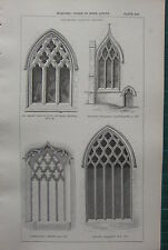 1850 ANTIQUE GOTHIC ARCHITECTURE PRINT WINDOWS FLOWING TRACERY ST MARY MAGDALENE