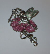 Fairy Pin Wand Wings New Silver Tone Glittery Crystal Accent Jewelry Brooch