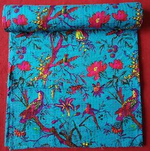 Indian Handmade Cotton Kantha Quilt Throw Blanket Bedspread Bird & Flowers Print