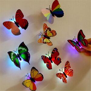 3D Butterfly LED Light Art Design Decal Wall Sticker Home Mural Room Decoration