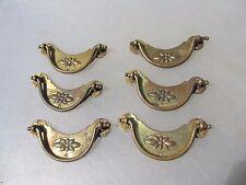 Victorian Brass Drawer Handles Set Pulls Antique Hardware Flower x6 Vintage 1890