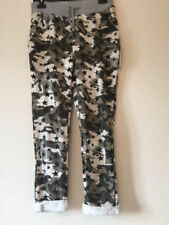Cotton Blend Camouflage Loose Fit Trousers for Women
