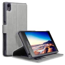 Fundas y carcasas color principal gris de piel sintética para teléfonos móviles y PDAs Sony