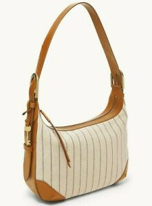 Fossil Hannah Hobo Shoulder Bag White Fabric Tan Leather ZB1310101 NWT $218 FS