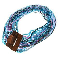 EXOTIC HANDMADE AQUA BLUE PEACOCK PURPLE WOOD BUCKLE SEED BEAD necklace