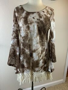 Gypsy Junkies Los Angeles Boho Long Flared Sleeves Top Lacey Brown White S/M