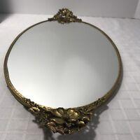 Dresser Vanity Mirror Tray Bar Floral Gold Brass Perfume Makeup Jewelry 22x10