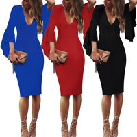 Women's Deep V-Neck Ruffle Bell Sleeves Casual Party Bodycon Sheath Pencil Dress