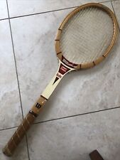 "VINTAGE WILSON Jimmy Connors Baseline Wooden Tennis Racquet 4 1/2"" grip"