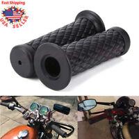 "7/8"" Motorcycle Black Rubber Hand Grip Gel Handlebar For Chopper Bobber Kawasaki"