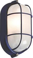 Knightsbridge 230V IP54 60W Black Oval Bulkhead Wire Guard and Glass Diffuser x1