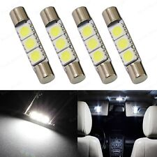 4 x Xenon White 3SMD 6641 6614F LED Bulb For Sun Visor Vanity Mirror Fuse Lights