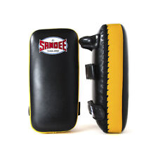 Sandee Extra Thick Flat Thai Kick Pads Black Yellow Leather Coach Kickboxing MMA
