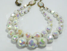 Fine Lovely Vintage Faceted White Iridescent Glass Bead Graduated Necklace 19""