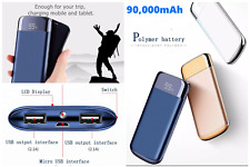 90000mAh Power Bank Lcd with 2 USB Ports,External Battery Charger For all iPhone