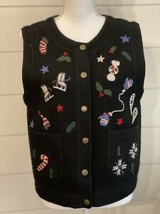 cambridge clothing co women's sweater vest holiday 100% boiled wool