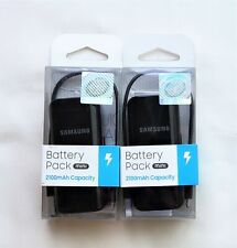 Samsung Brand Battery Pack Mini 2100 mAh Black - OEM Lithium Ion NEW 2-PACK!!