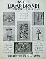 PUBLICITÉ DE PRESSE 1926 GALERIE EDGAR BRANDT ART DECORATIF CONTEMPORAIN LAMPE