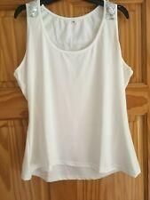 White vest shiny top - size 12/14  3XL- new never worn