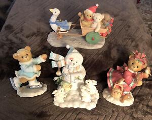 Lot Of 5 Vintage Cherished Teddies Bear Figures, Winter  Theme